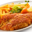 Pork chop, French fries and vegetables — Stock Photo #33609587
