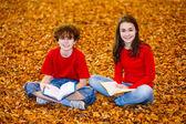 学生们阅读书籍户外 — 图库照片