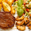 Grilled steak potato and vegetable salad — Stock Photo #33639765