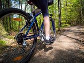 Kvinna cykling — Stockfoto