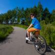 Boy biking — Stock Photo