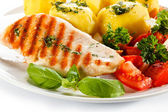 Grilled salmon with potatoes — Stock Photo