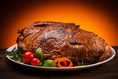 Roasted meat and vegetables — Stock Photo