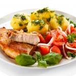 Pork chop, boiled potatoes — Stock Photo #46250081