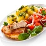 Pork chop, boiled potatoes — Stock Photo #46250207