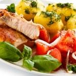 Pork chop, boiled potatoes — Stock Photo #46250481