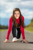 Girl ready to run — Stock Photo