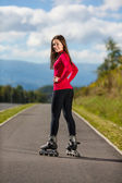 Girl rollerblading — Stock Photo