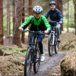Teenage girl and boy riding bikes — Foto Stock #46265407