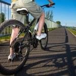 Teenage boy and bike in city — Stock Photo #46268603