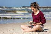 Woman reading book — Stock Photo