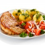 Pork chop, boiled potatoes — Stock Photo #46284213