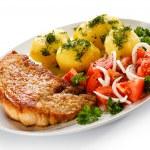 Pork chop, boiled potatoes — Stock Photo #46284277