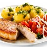 Pork chop, boiled potatoes — Stock Photo #46284507