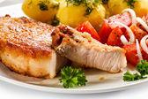 Pork chop, boiled potatoes — Stock Photo