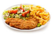 Fried pork chop, French fries — Stock Photo