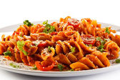 Pasta with meat, tomato sauce — Stock Photo