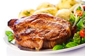 Grilled steak, boiled potatoes — Stock Photo