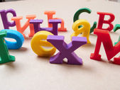 Plastic alphabet letters — Stock Photo