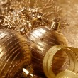 Gold christmas balls and snowflakes - Stock fotografie