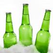 Three beer bottles standing in snow — Stock Photo #23157714
