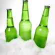Three green beer bottles in snow — Stock Photo #23158640