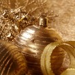 Gold christmas balls - Stock Photo