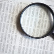 Stock Photo: Magnifying glass on document