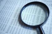 Vergrootglas op het document — Stockfoto