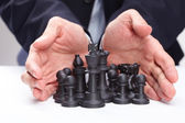 Businessman with chess — Stock Photo