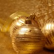 Gold christmas balls — Foto Stock