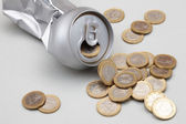 Can with coins — Stock Photo
