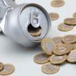 Stock Photo: Crushed Aluminum Cwith coins