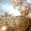 Stockfoto: Gold christmas balls