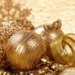 Gold christmas balls — Stock Photo