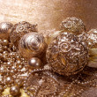 Stock Photo: Gold christmas balls