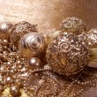 Gold christmas balls — Stock fotografie