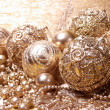 Gold christmas balls — Stock fotografie #30703253
