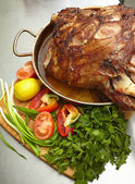 Roasted pork knuckle — Stock Photo