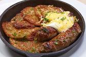 Potato Pancakes with sausage — Stock Photo