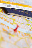Passport on map — Stock Photo