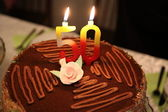 Birthday cake with number 50 — Stock Photo