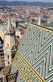 Panorama van wenen, luchtfoto van stephansdom kathedraal, vien — Stockfoto