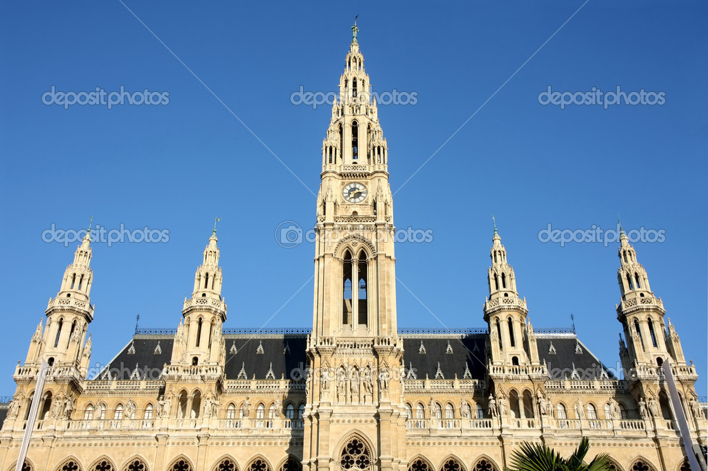Famous City Hall building, Rathaus in Vienna, Austria  Stock Photo #13195688