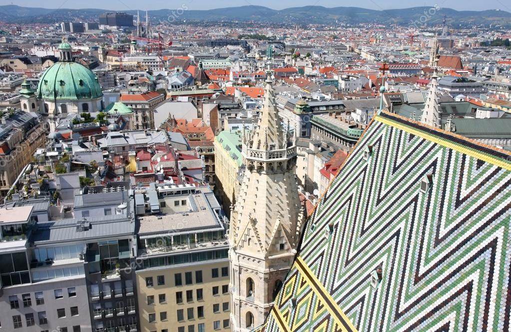 Panorama of Vienna, aerial view from Stephansdom cathedral, Vienna, Austria  — Stock Photo #13354399