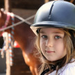 Little girl and brown Horse — Foto Stock