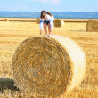 Small rural girl on the straw after harvest field with straw bal — Stock Photo