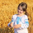 Stock Photo: Small rural girl on wheat field