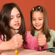 Girls drawing in classroom — Stock Photo #3941417