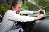 Driver furious on GPS navigation a wrong way — Stock Photo